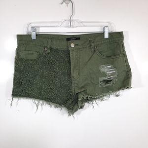 Forever 21 Lace Destroyed Mini Shorts
